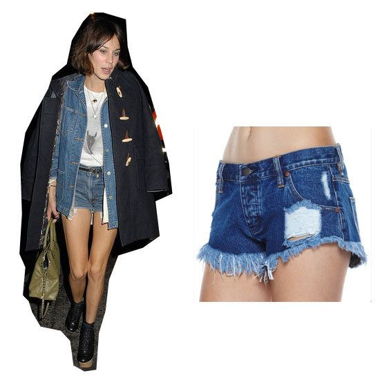 As Alexa well knows, no girl can go to a festival without a pair of denim cut-offs in her case. Not just for sunny days, you can still wear when the temperature dips if you know how to layer. Tee + denim shirt + pea coat + ankle boots = covered. Shorts, $48, Wrangler at Surf Stitch