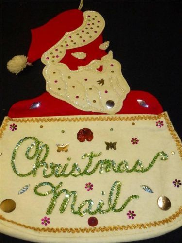 Vintage Handmade FELT Sequins Jolly SANTA CLAUS CHRISTMAS MAIL CARD HOLDER Bag