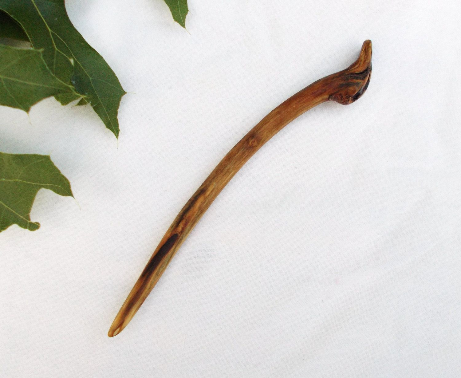 SPALTED OAK Wood Shawl stick Shawl Pin Hand carved. Hair Pin Hair Stick
