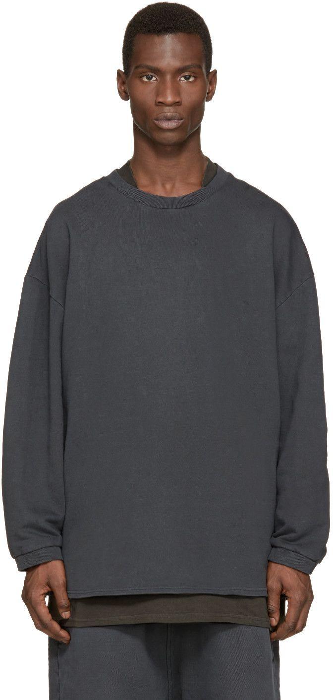 Yeezy Season 1 Grey Crewneck Pullover Long Sleeve Tshirt Men Grey Crewneck Men Sweater [ 1412 x 672 Pixel ]