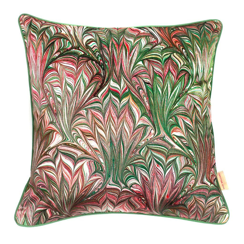 Photo of Green Feathered Velvet Square Cushion