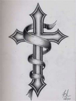1. Similar cross I drew with angel halo, wings, and ribbon ...