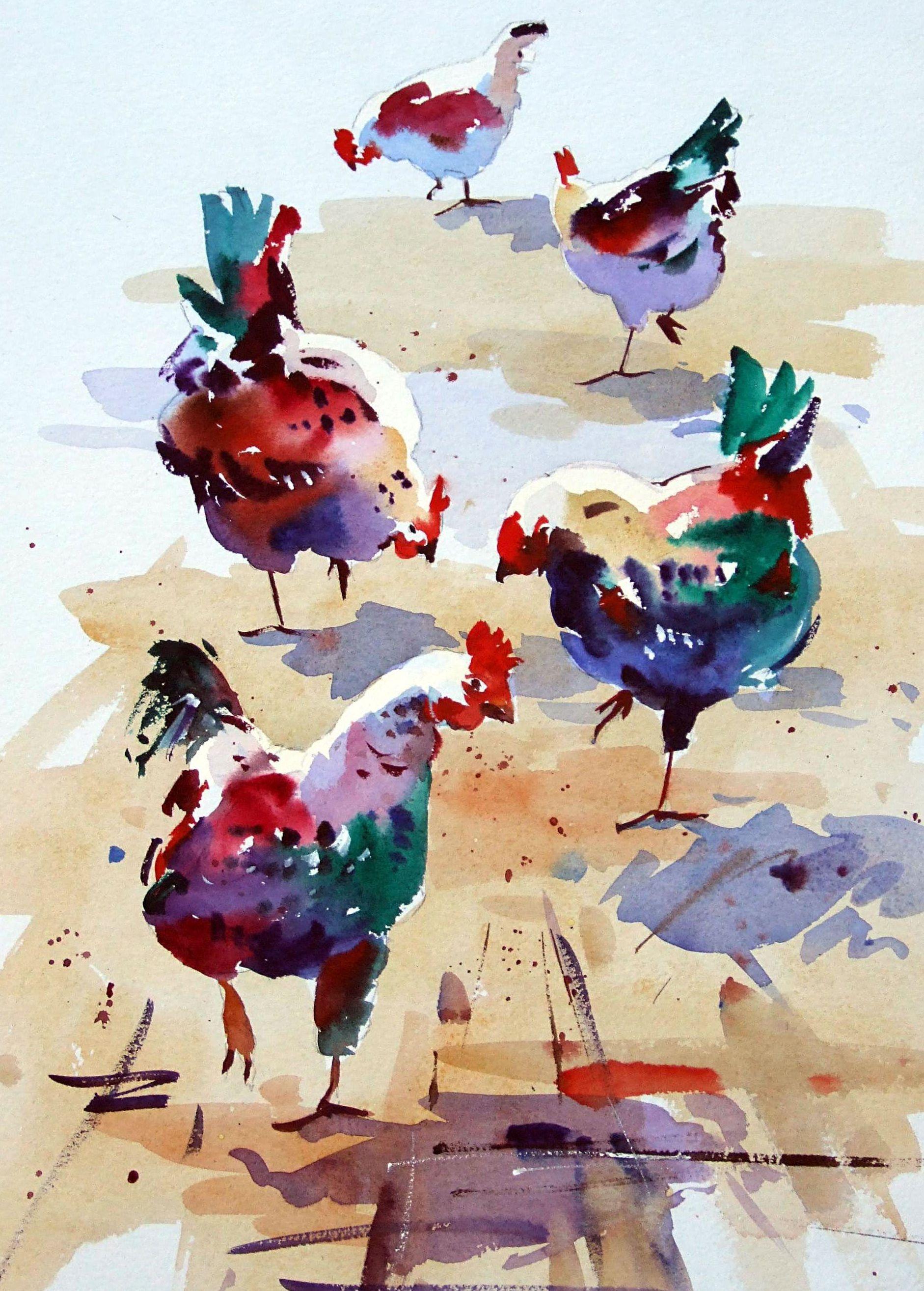 Jake Winkle Pecking Parade Oiseau En Aquarelle Peinture De