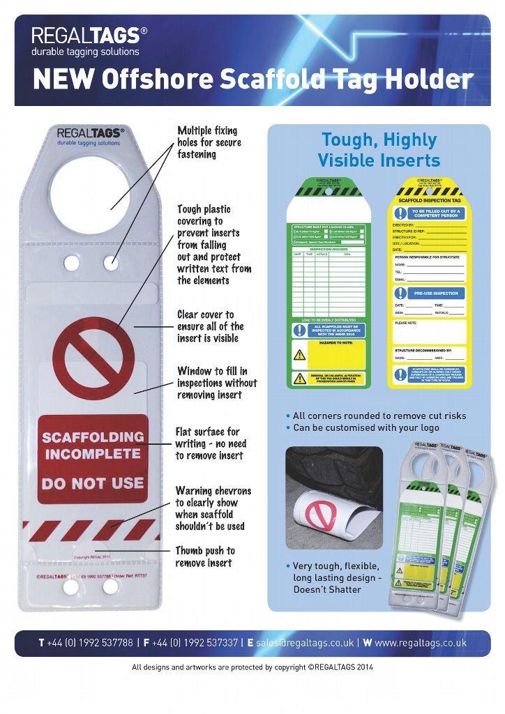 Scaffold holder and inserts Tag Kit
