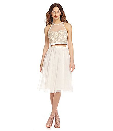 Sequin Hearts 2Piece Tulle Skirt TeaLength Dress #Dillards ...