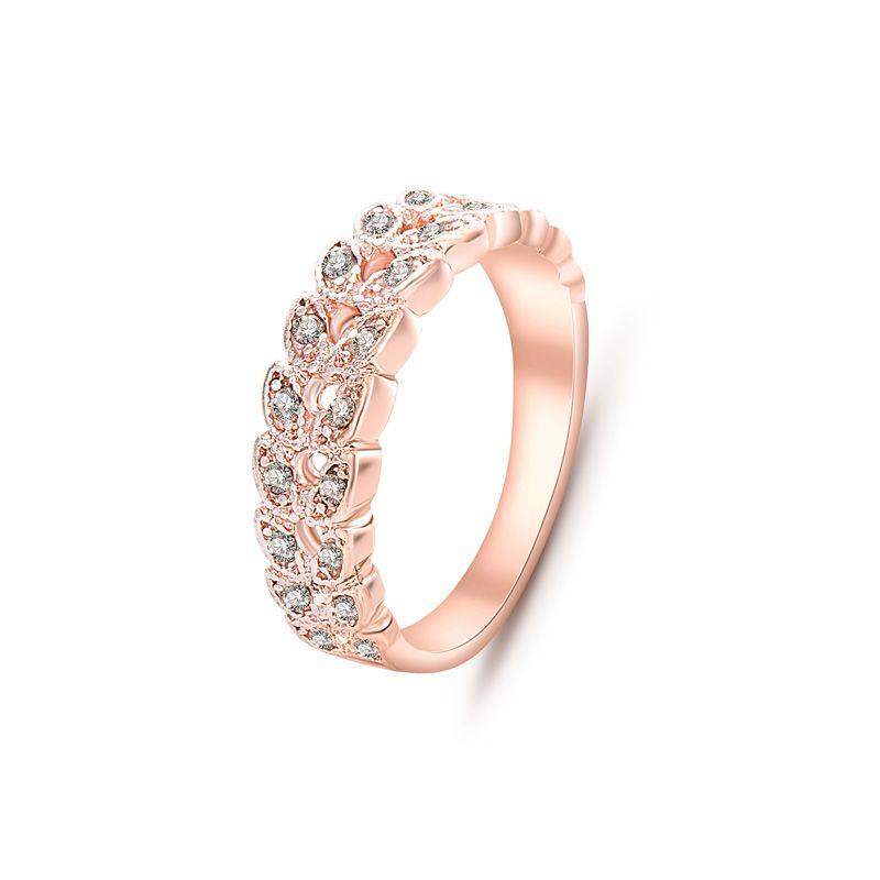 2016 최고 품질의 패션 문 보석 골드 도금 CZ 다이아몬드 크리스탈 잎 반지 nj92