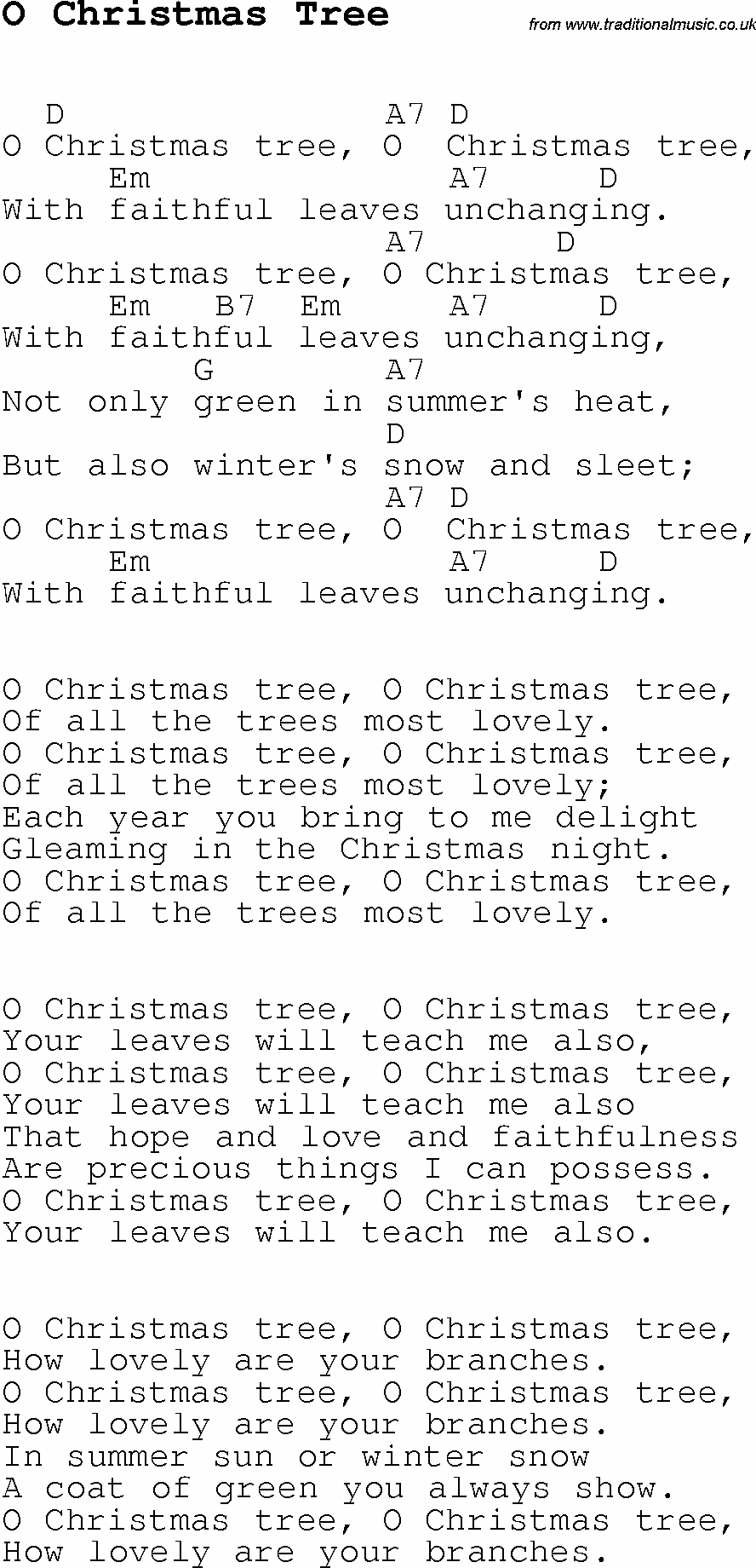 Christmas Songs And Carols Lyrics With Chords For Guitar Banjo For O Christmas Tree Pianoforbe Guitar Chords For Songs Ukulele Lesson Christmas Ukulele Songs