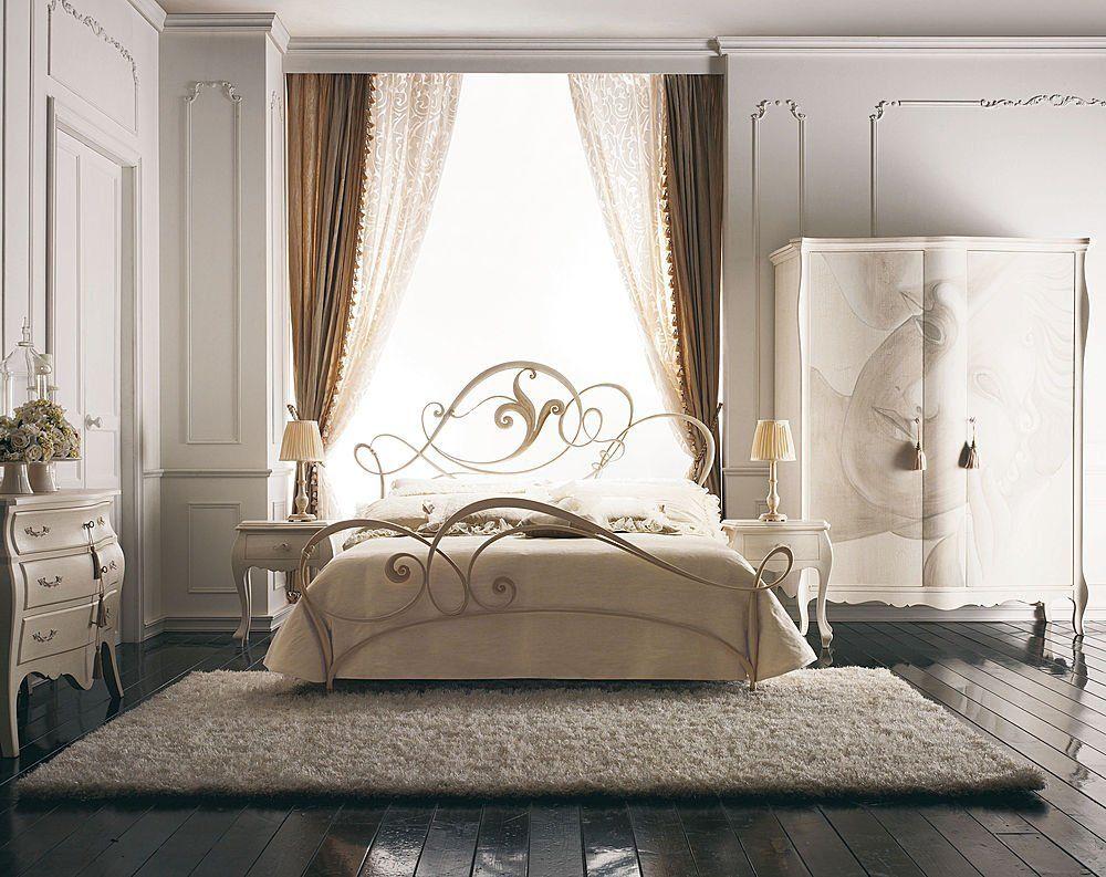 dormitorio, cama en fierro forjado pintado blanco acompañado de ...