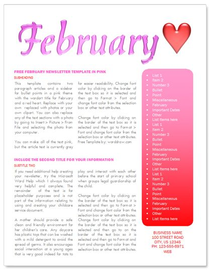 february newsletter template       worddraw com