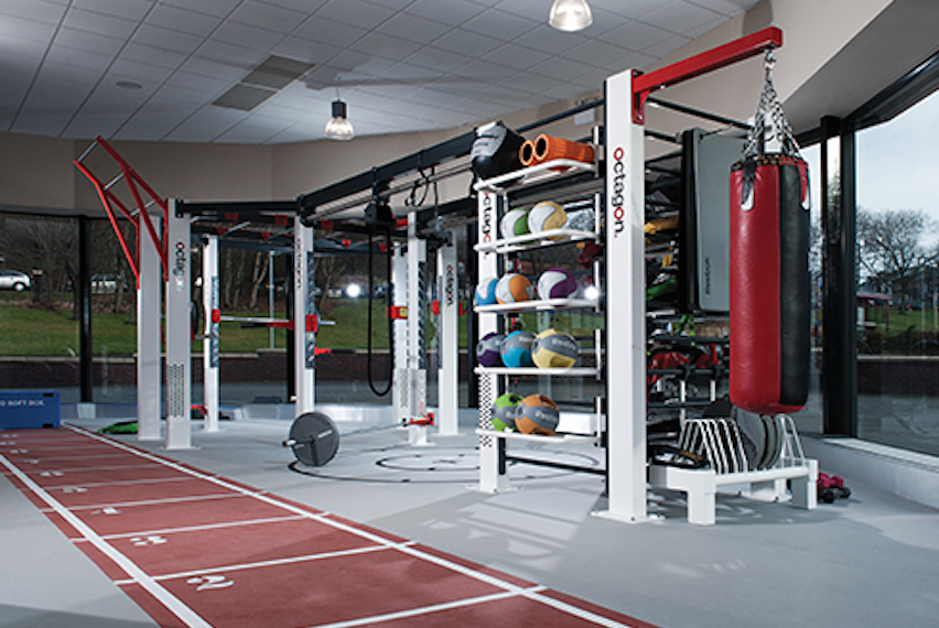 This Group Training Facility Is Impressively Equipped With Vertical Stack  Storage Solutions For Fitness Accessories And