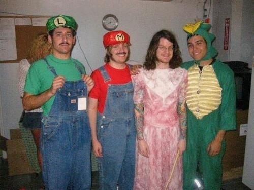 hot band boys in halloween costumes fall out boy as mario kart