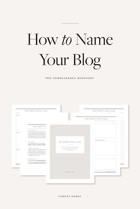 Naming Your Blog Free Worksheet for Content Creators