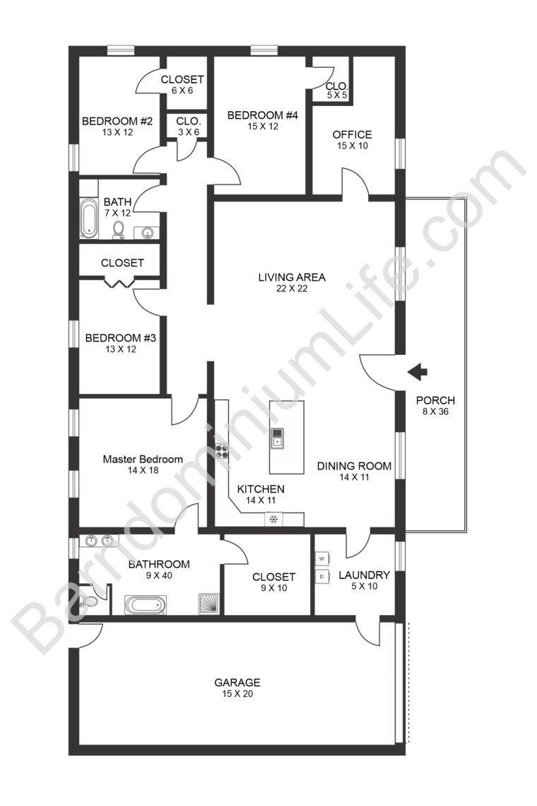 The Seven Best 4 Bedroom Barndominium Floor Plans With Pictures In 2020 Barndominium Floor Plans New House Plans Barn House Plans