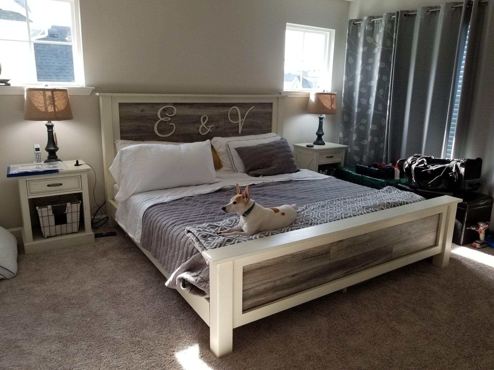DIY Farmhouse Bed King Version Diy king bed frame, Bed