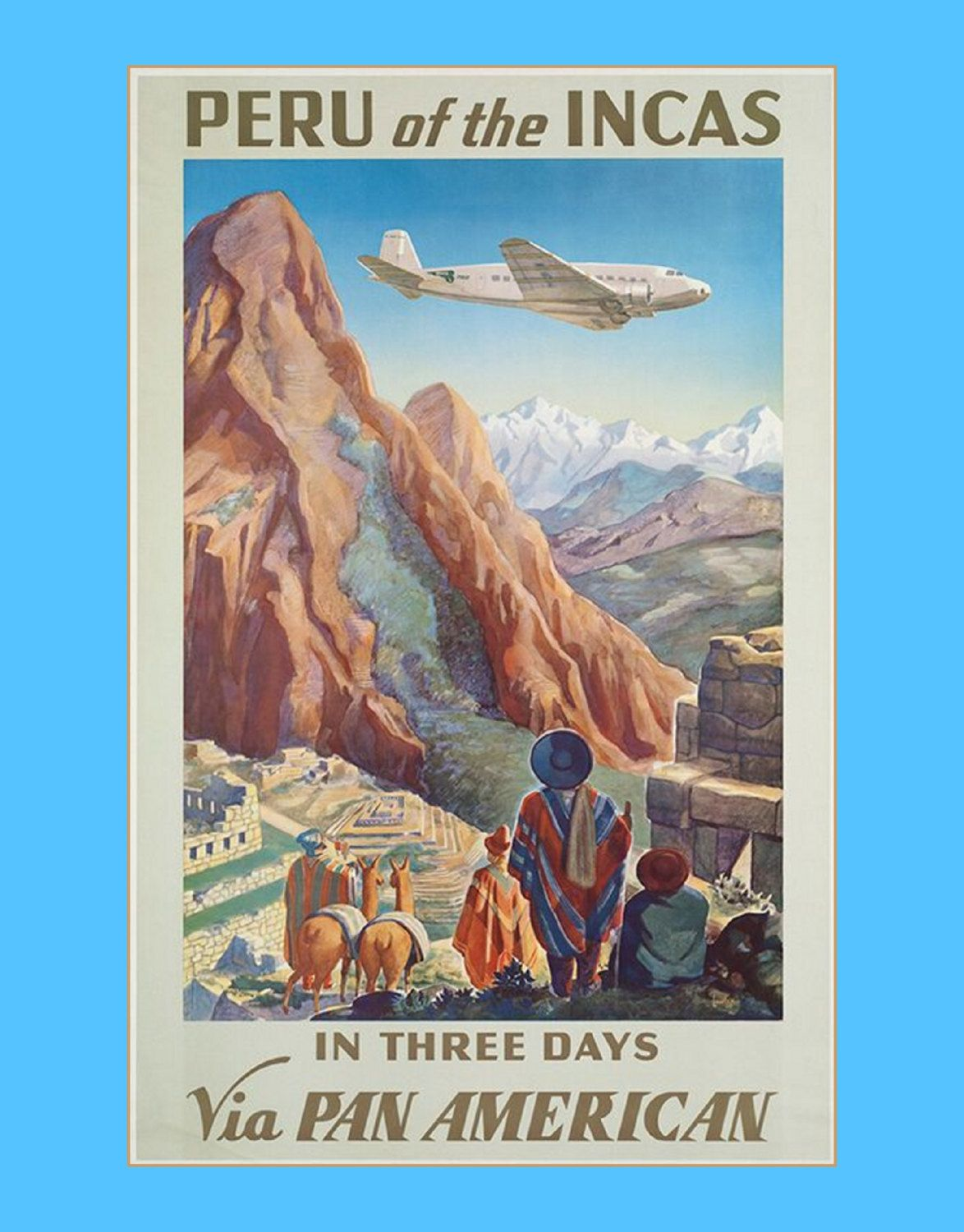 """11 X 14""""  canvas art print~   Peru-of-the-Incas-pan-am-vintage-travel-poster by justartrageous3 on Etsy"""