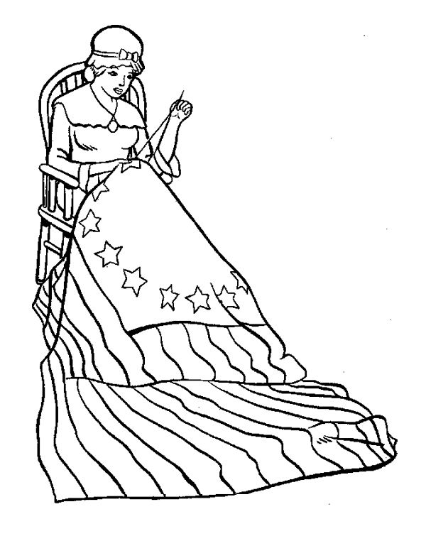 Betsy Ross Made The First American Flag Coloring Page Kids