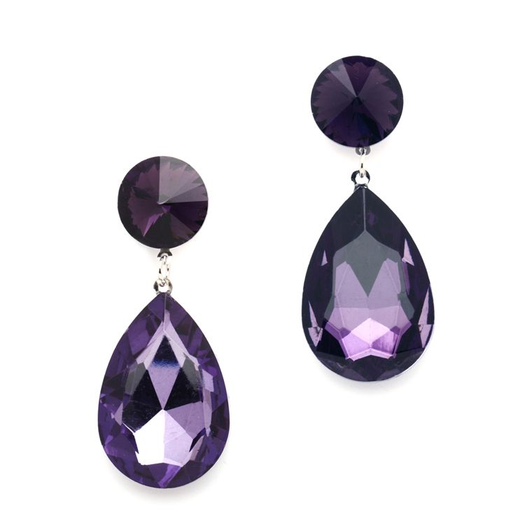 Royal Purple Crystal Teardrop Earrings