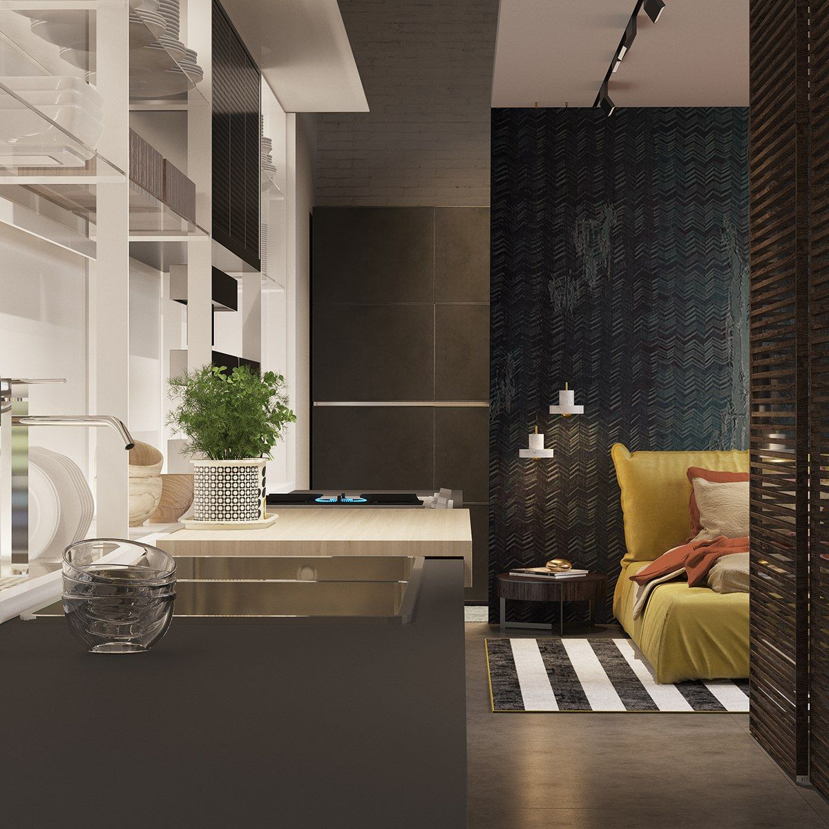 Home Decoration Design Minimalist Interior Design Staircase: A Pair Of Dark Themed Homes With Sophisticated Accent