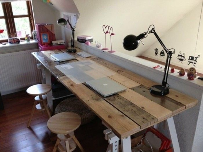 bureau en palette mod les diy et tutoriel pour le fabriquer soi m me bureau bureau palette. Black Bedroom Furniture Sets. Home Design Ideas