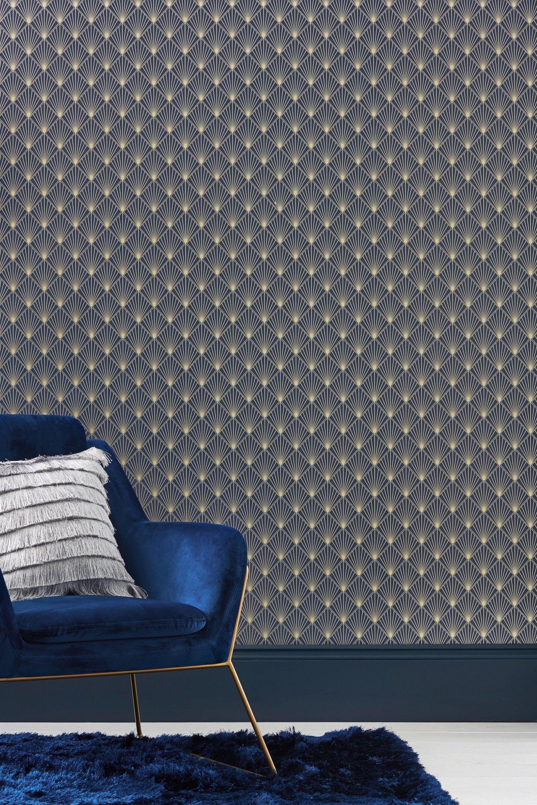Next Paste The Wall Deco Facet Wallpaper Blue Wall Deco Art Deco Interior Design Wallpaper