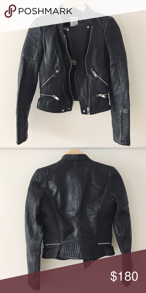 Zara Leather Jacket NWT Black leather jacket with silver hardware and quilted details on sleeves, shoulders, and sides. Real leather. Brand new with tags. Never worn. Zara Jackets & Coats