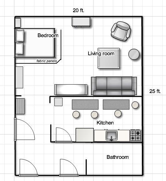 5 Apartment Designs Under 500 Square Feet: Studio Apartment Floor Plans