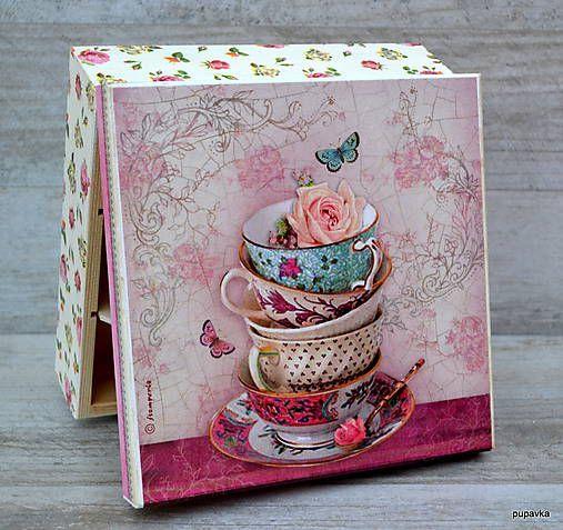 Pupavkashop / Ružová čajová krabička