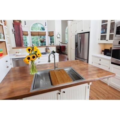 glacier bay dual mount stainless steel 33 in 4 hole single basin kitchen sink in satin. beautiful ideas. Home Design Ideas