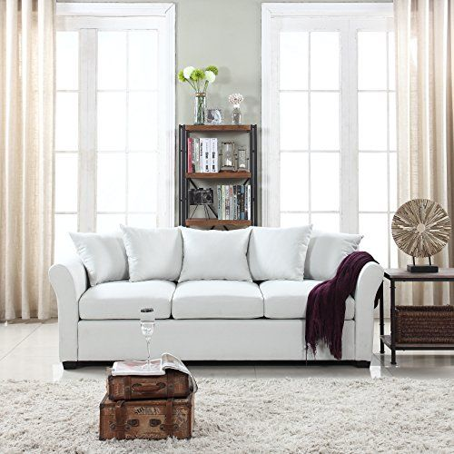 Clic And Traditional Ultra Comfortable Linen Fabric Sofa Living Room Couch
