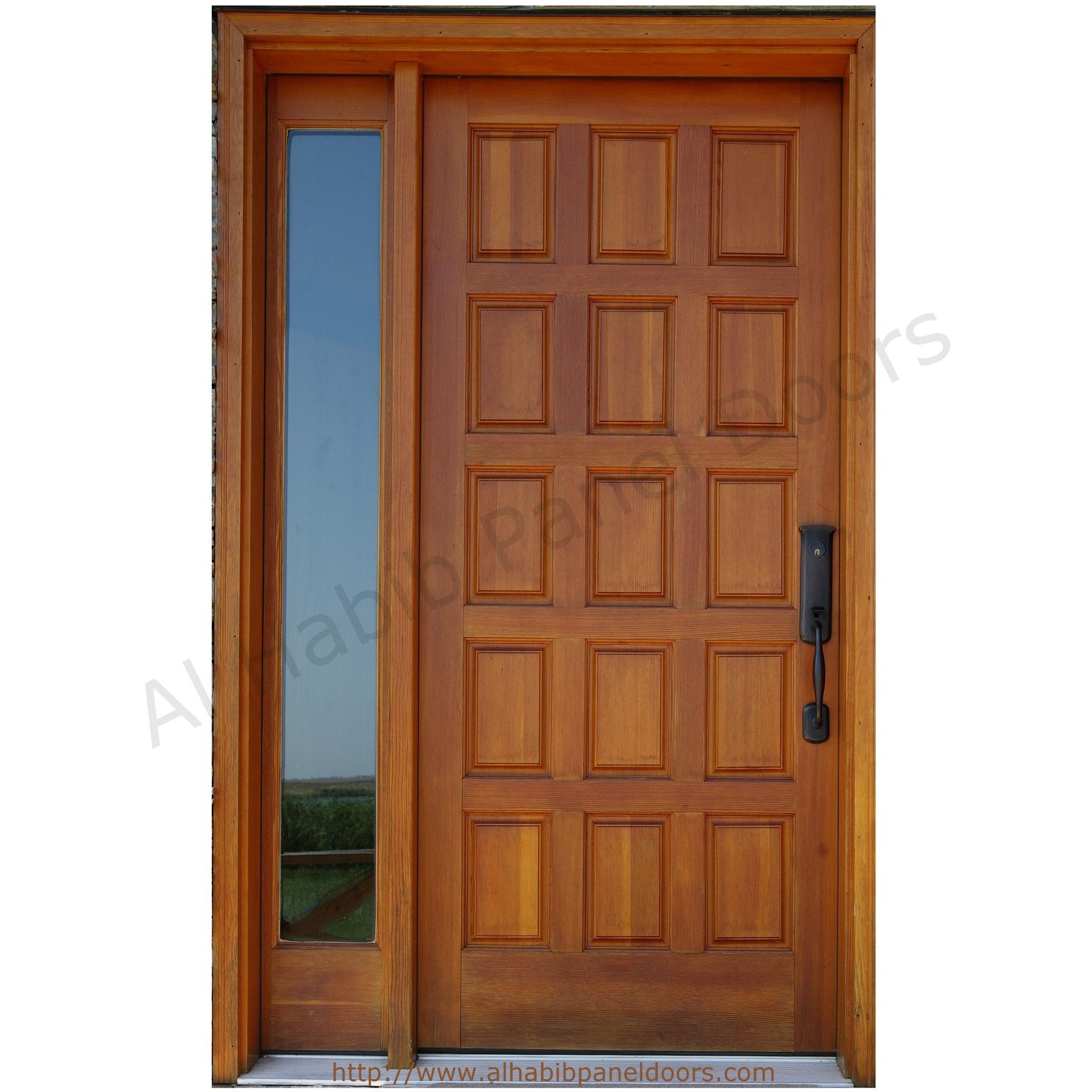 1800 #7F4221 Hpd427 Solid Wood Doors Al Habib Panel Doors Solid Wood Door  image Solid Wood Entrance Doors 41131800