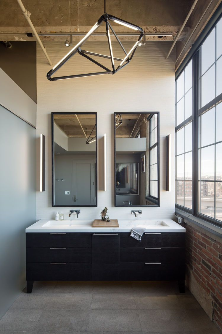 Modern Bathroom Chandeliers master bathroom with modern chandelier in denver /robb studio