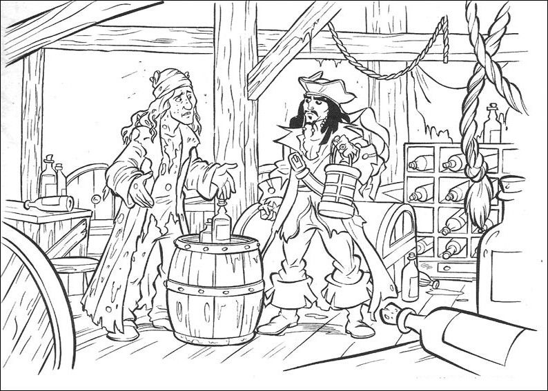 Pirates of the Caribbean. Disney Coloring Page | Pirate ...