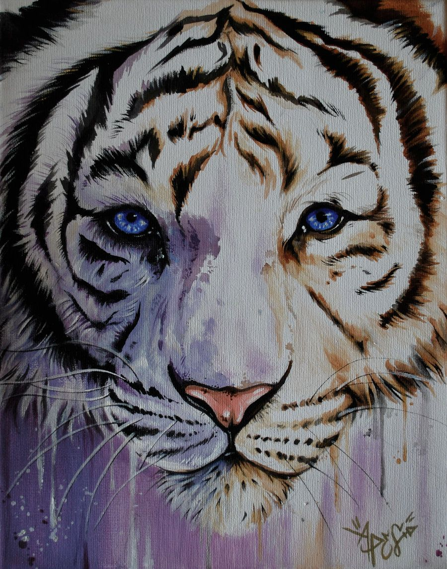 White Tiger - Acrylic by ~aprelll on deviantART   White ...