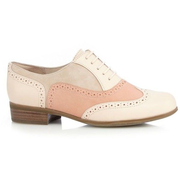 Clarks Pale pink 'Hamble Oak' leather brogues (€38) ❤ liked on Polyvore featuring shoes, oxfords, clarks, genuine leather shoes, laced shoes, pale pink shoes and balmoral oxfords