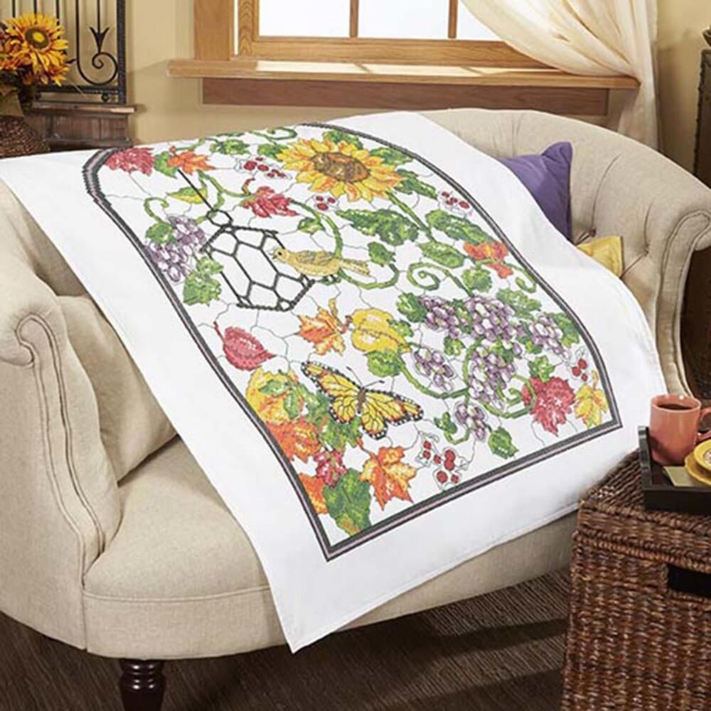 Herrschners® Autumn Stained Glass Lap Quilt Top St&ed Cross ... : stamped cross stitch lap quilts - Adamdwight.com
