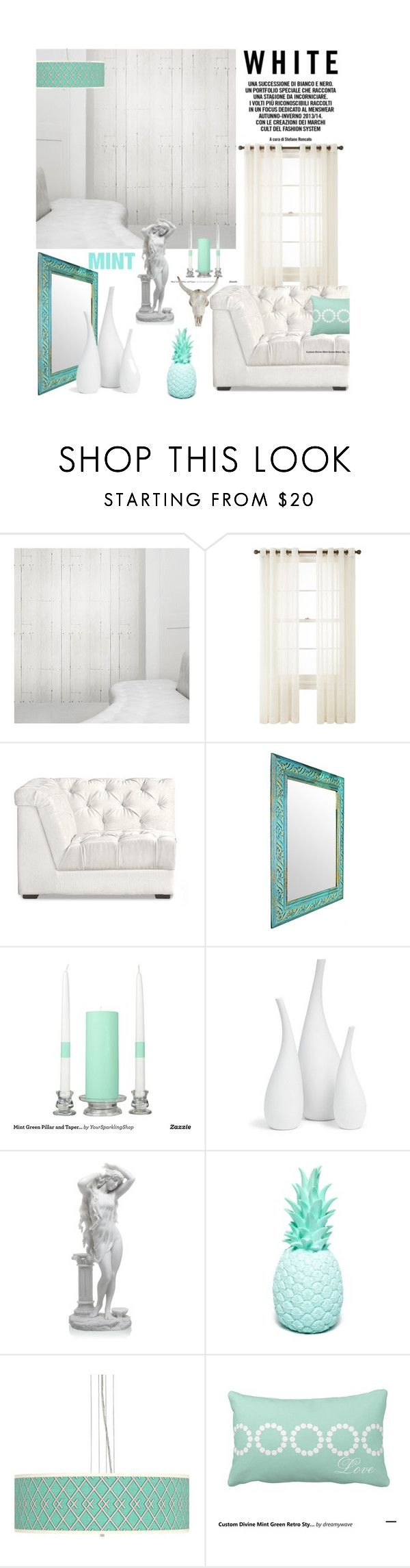 """""""White with a Minty Hint"""" by jesking ❤ liked on Polyvore featuring interior, interiors, interior design, home, home decor, interior decorating, Mineheart, Royal Velvet, Mitchell Gold + Bob Williams and Giclee Gallery"""