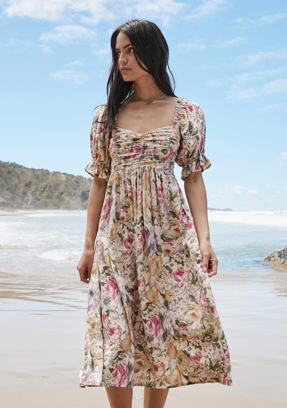 Jardin Rouched Bodice Midi Dress White Auguste The Label Vintage Summer Dresses Dresses Womens Midi Dresses [ 1421 x 1000 Pixel ]
