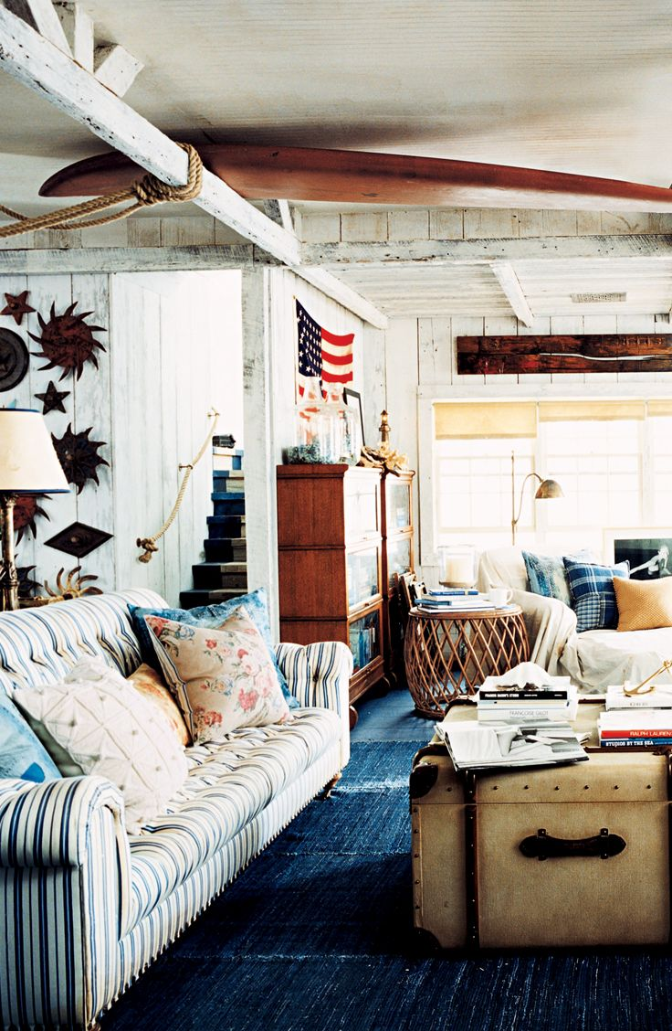 Rustic Americana in a seaside beach cottage from Ralph ... on luxe home interiors, victoria beckham house interiors, andrew carnegie house interiors, bill gates house interiors, private island house interiors, celine dion house interiors,
