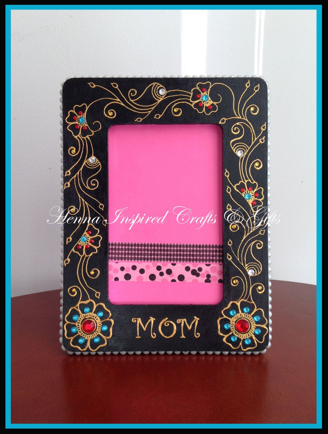 MOM, Gift for Mom, Mother's Day photo picture frame, Hand painted, Henna Inspired , personalized photo frame, Black Frame, Gift by HennaCraftsbyPramila on Etsy https://www.etsy.com/listing/228146085/mom-gift-for-mom-mothers-day-photo