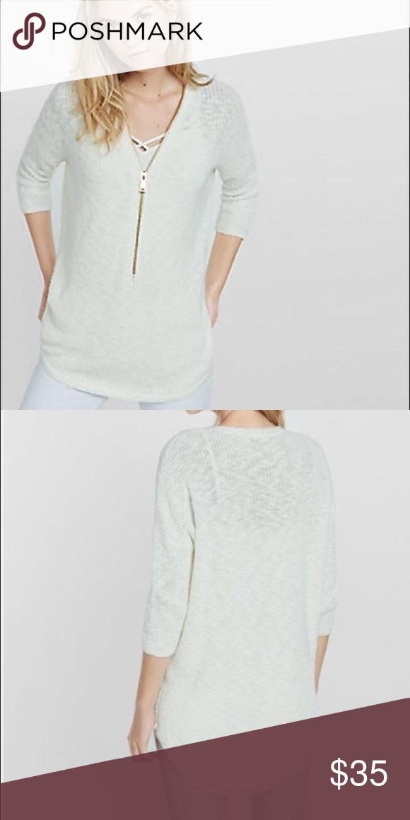 3c4e26813 Express zip front cream London tunic sweater small ... - Cream Color ...