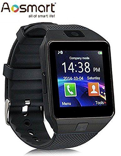 Aosmart Black Bluetooth Touch Screen Smart Wrist Watch Phone Mate
