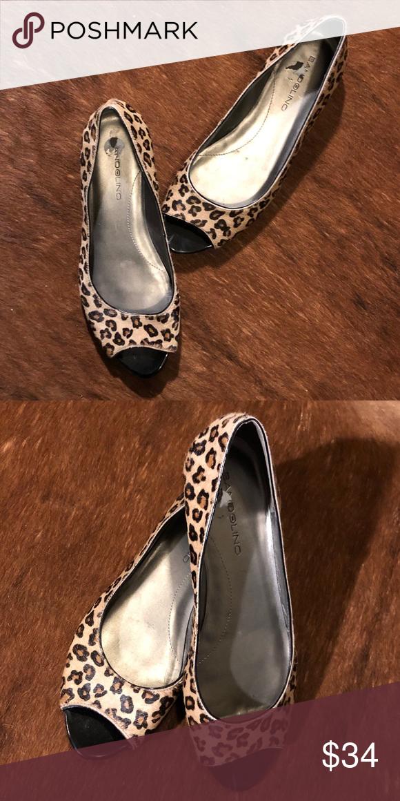 f5e2f9db02 Bandolino Leopard Print Open Toed Flats Super chic calf hair leopard print  flats. In great