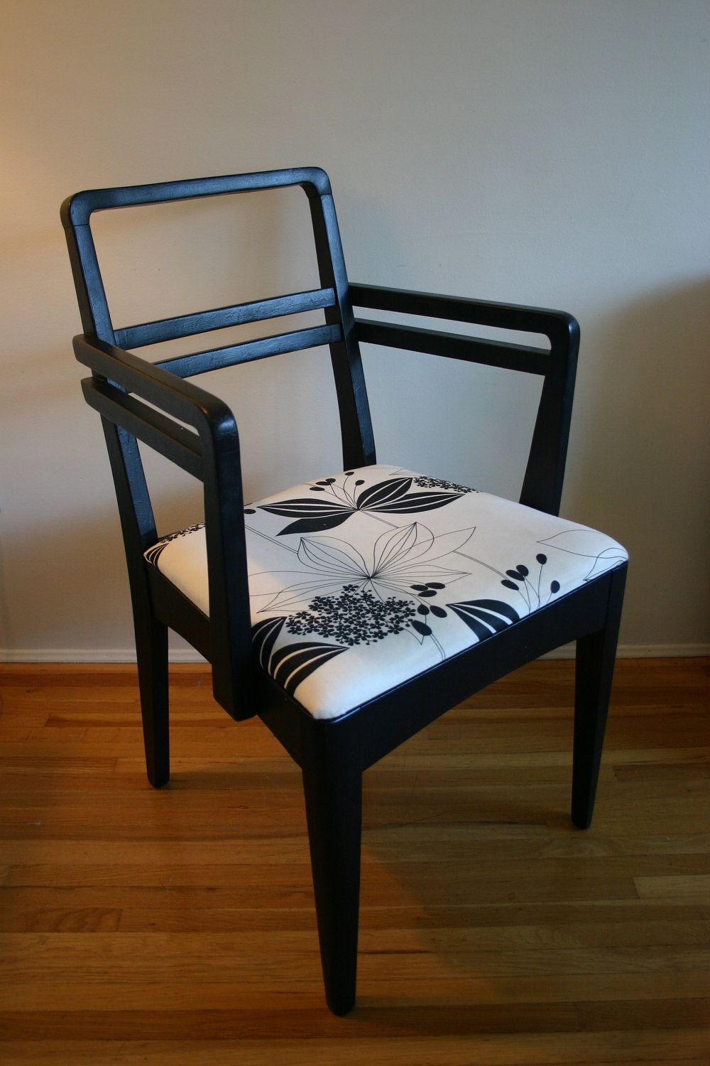 Chair  Black and White Arm Chair  Accent Dining or Desk