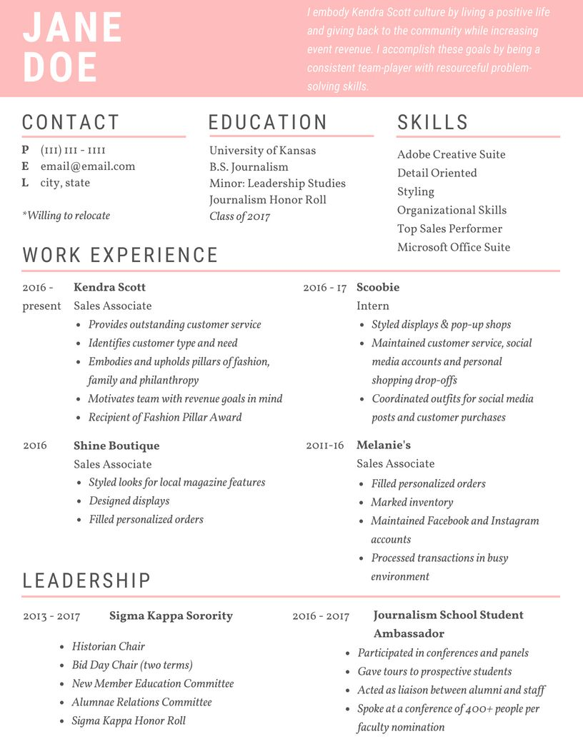 girl resume simple pink colorful design