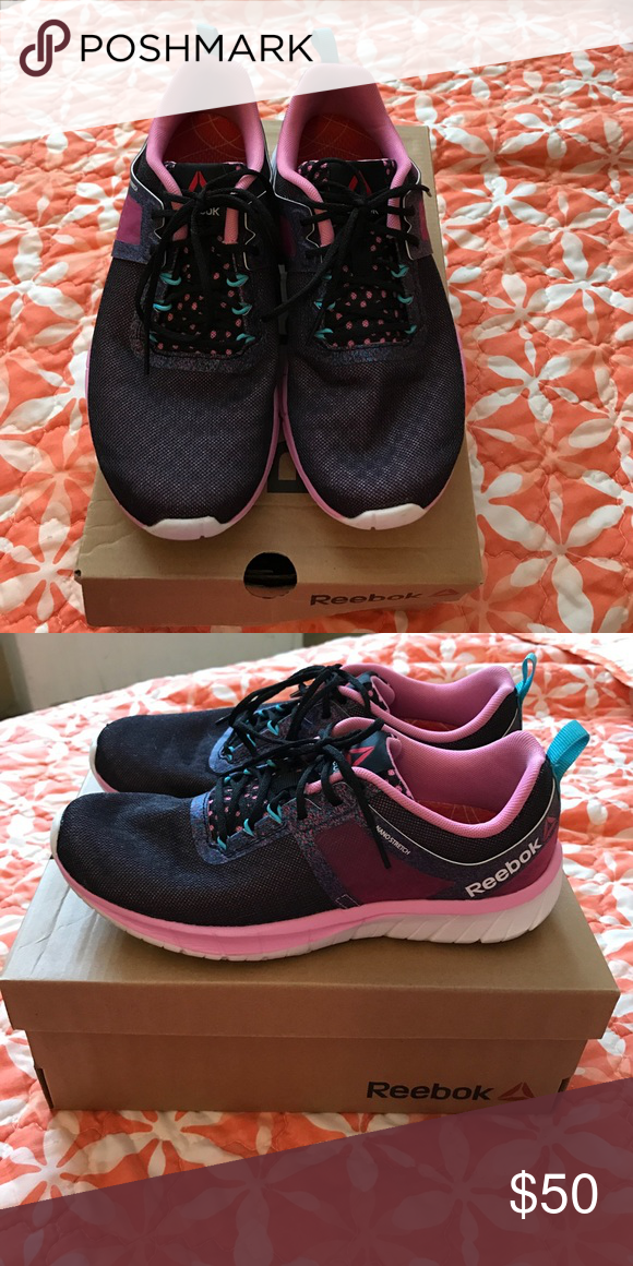 Reebok running sneakers Pink/black/blue only worn a couple of times. There  like new. Reebok Shoes Sneakers