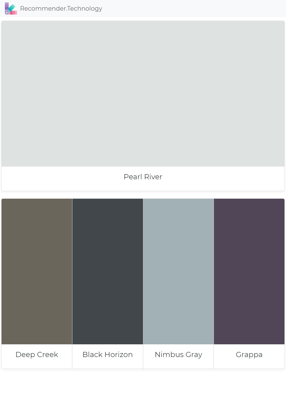 Pearl River Deep Creek Black Horizon Nimbus Gray Grappa Paint Color Palettes Paint Colors Benjamin Moore Perfect Paint Color