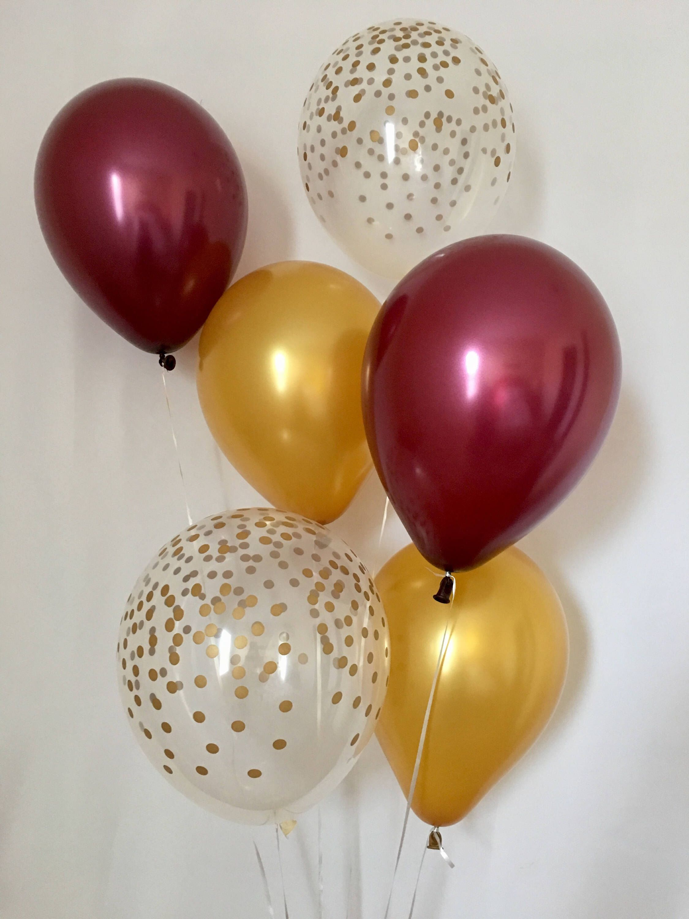 Magasin De Decoration Fete Bordeaux Ballons En Latex Bordeaux Or Et Confettis Or Clair Tomber