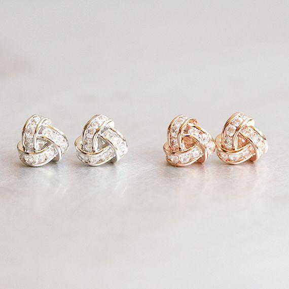 Swarovski White Gold Triangle Knot Earrings Studs From Kellinsilver