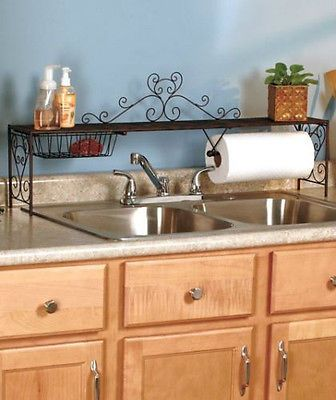 Bronze Over The Sink Shelf Storage Kitchen Organizer Paper Towel