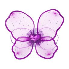 Purple with Silver Glitter Polka Dots Butterfly Wings
